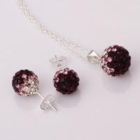 Shamballa Beads Austrian Crystal Balls Necklace Earrings Set with Rhinestones Nickel Free Fashion Jewelry S051