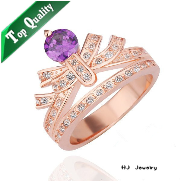 R230 Princess Crown shaped rings , amethyst imitation jewellery designs , rose gold plated wedding accessories jewelry stocklot(China (Mainland))