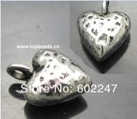 Tibetan Antique Silver Metal Heart Charms, Heart shape Pendants, 100pcs/lot