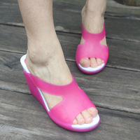 Sweet candy color wedges platform slippers plastic women's high-heeled platform sandals plastic crystal shoes