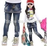 Free shipping Retail 1pcs/lot New Autumn female children denim skirt jeans 2 piece girls jeans Stitching stripes