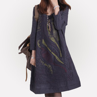2013 spring and summer women's plus size loose lines fluid patchwork linen one-piece dress