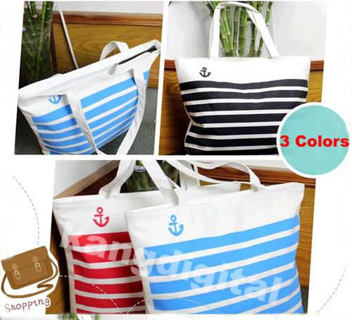 Free Shipping Fashion Stripes Canvas Shoulder Tote Handbag Travel Eco Recycle Shopping Bag(China (Mainland))