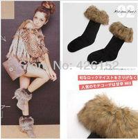 Classic long-haired fur flanging snow socks winter socks in tube socks