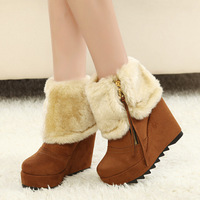 Winter rabbit fur high-heeled snow boots wedges platform boots waterproof boots small yards 31 32 33 41 plus size