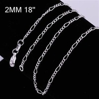 Fast/Free shipping 100pcs/lot 925 silver jewelry fashion simple 2mm men chain factroy price trendy chains super gift
