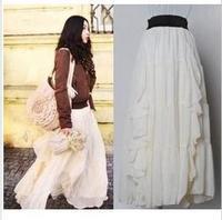 womens Bohemia  ruffle chiffon beige maxi skirts  long  free shipping