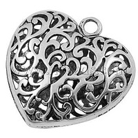 Tibetan Style Pendants,  Large Heart Pendant for Long Necklace,  Lead Free,  Antique Silver,  51x50x17mm,  Hole: 5mm