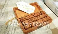 DHL Free shipping,40Sets 30pcs/set, Creative Lowercase & Uppercase Alphabet wood rubber stamps set, Wooden box ,Decorative DIY