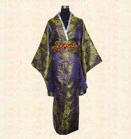 Navy blue New Japanese kimono Women's silk satin kimono robe gown Dress with Obi Yukata Haori flower one size LGD H0022