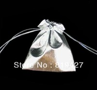 Free Shipping Wholesale 100Pcs silver 7*9cm Drawstring Organza Pouch Bag/Jewelry Bag,Christmas/Wedding Gift Bag