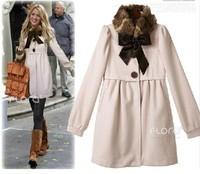 Gossip Girl ! FREE SHIPPING 2014 winter New Fashion puff sleeve Sweet Fur Collars women's coats outerwear FIVE SIZE c038