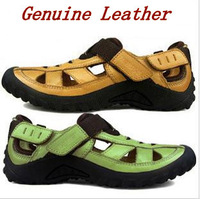 2013 Men's sandas fashion genuine leather cowhide male sandals outdoor casual leather sandals beach wear soft-soled sandals