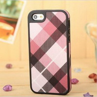 fashion National wind fabric Grid phone Case for iphone 5 hard plastic Cover for iPhone 5 free shipping