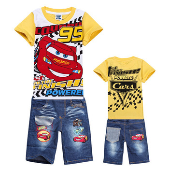 6sets/Lot Children's Suits Boys Cartoon Clothing Set Kids Cartoon YELLOW CAR Sports Suit Children T-shirt+Jeans Pants 2pcs/Set