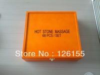 68pcs Hot basalt massage stone set with wooden box package,sample,1 set.