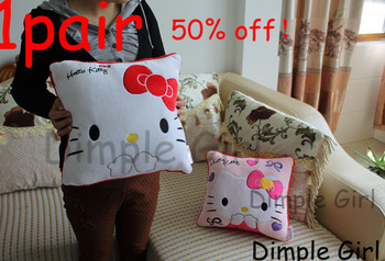 pink white bow square sofa decoration soft plush cat doll wedding hello kitty cushion pillow car accessories for girlfriend gift