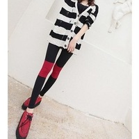wholesale 6 pcs Summer new/female knee symmetrical color matching black and red ninth pants show thin tights/cotton yarn