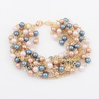 New Fashion High Quality Luxurious Multicolor Colorful Simulated Pearl Chain Bracelets Bangle for Women Ladies Free Shipping Hot