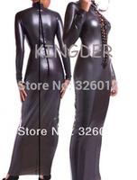 Sexy fashion silver long sleeve fancy fetish garment skinny dress latex dress for women