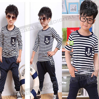 2013  navy style boys clothing baby short+long sleeve T-shirt capris pants set children kids suit, kids clothes drop shipping