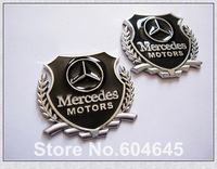 Free Shipping 2PCS(1 Pair) 3D Car Side Stickers Car Badge Logo Car Emblems For Mercedes-Benz Motors Silver 5.5cm*5cm