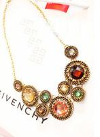 Hot-selling fashion geometry kr903 gem short design necklace crystal metal punk accessories