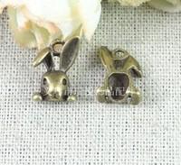 Free shipping 13*9MM costume anitque Vintage Bronze rabbit head metal charm pendant 100 pcs