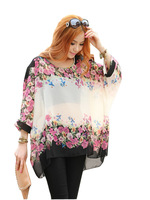 Sweet fashion Bohemian style women big size Dolman Sleeve chiffon leisure blouse WS1018-2