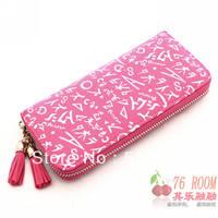 Best Selling!!2013 new fashion ladies zipper wallet women letter print purse scrawl purses Free Shipping