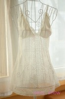 Lace women's nightgown full lace summer temptation sexy transparent sleepwear spaghetti strap