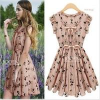 Free Shipping Hot Sale European Woman High Quality Dress Woman's Fashion Elegant Chiffon Dress Wholesale S-XL MG-054