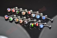 Wholesale star country flag logo Navel piercing Belly Button ring Fashion Body Piercing Jewelry 316L Surgical steel 100 pcs/lot