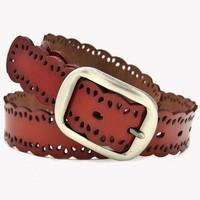Free Shipping    Ms. Belt    Ms tide leisure joker leather belt    Genuine leather belt   Hollow out  Pin buckle