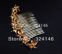 New luxurious red  rhinestone vintage wedding hair combs bridal Hairpins hair jewelry retail / wholesale
