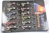 12pcs Hot sale Banana bell with mixed designs mix color flowers Surgical Steel Nose Piercing Crystal Stud
