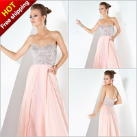 Free Shipping Attractive A Line Sweetheart Chiffon Evening Dresses Evening Gown 2013 Prom Dress With Crystals  (MDe0909)