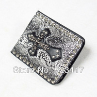 Free shipping Trendy rocker snake rivets cross  leather unisex purses Cool punk leather wallets stylish wholesale cowboy wallets