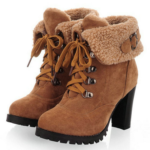New hot sale Fashion Women Ankle Boots High Heels Lace up Snow Boots Platform Pumps shoe(China (Mainland))