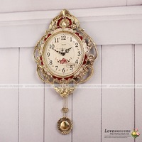 EMS free shipping Gold clock quality metal fashion rustic wall clock mute belt pendulum quartz clock and watch