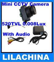 Wholesale 520TVL Mini CCTV Camera 0.008Lux,120 deg View Angle Night Vision With Audio Free Shipping