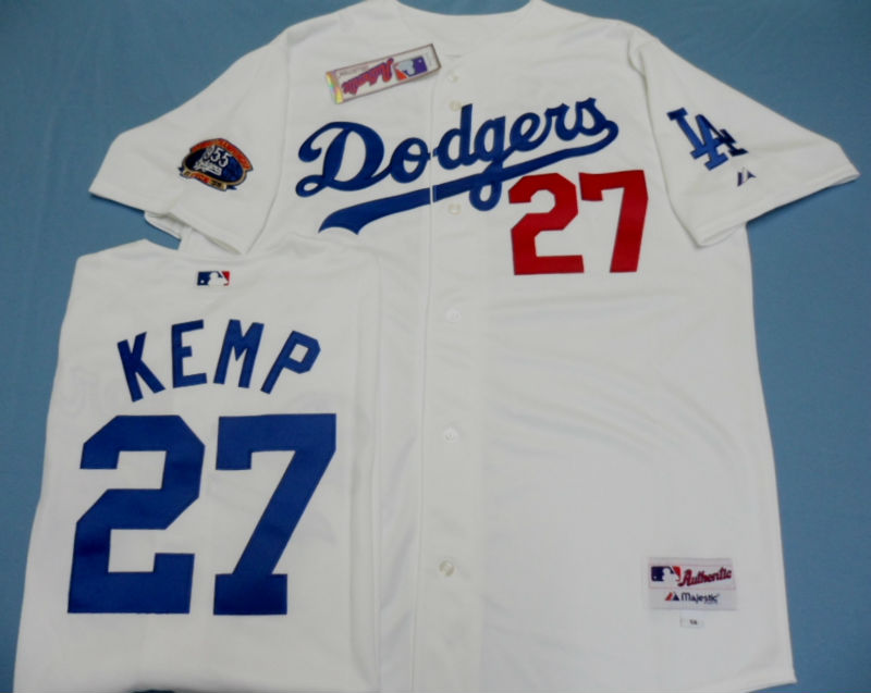 MLB Los Angeles Dodgers Authentic Matt Kemp White Home Cool Base Jersey w/Dodger Stadium 50th Anniversary Patch(China (Mainland))
