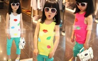 2013NEW Children colorful t-shirt kids girls summer clothes 3D lip decoration sleeveless t-shirt child cotton tank free shipping