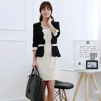 ol patchwork color block ruffle formal dress one-piece elegant intellectuality elegant one-piece dress