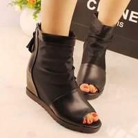 Elevator 2013 open toe flat heel flat gauze female ankle boots female shoes