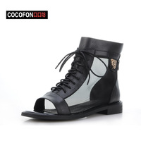 Fashion metal leopard head 2013 bandage gauze cool boots flat open toe punk comfortable back zipper sandals