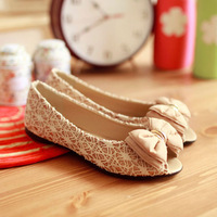Comfortable open toe shoe summer flat sandals bow flat heel shoes female