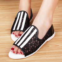 Summer new arrival 2013 lace open toe low cutout sandals flat soft outsole comfortable female shoes