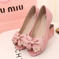 Summer new arrival 2013 plus size women's shoes 40 41 42 43 open toe bow flat casual flat heel single shoes