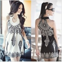 On sale hot high quality 2013 bohemia neckline sleeveless print dress vest one-piece dress